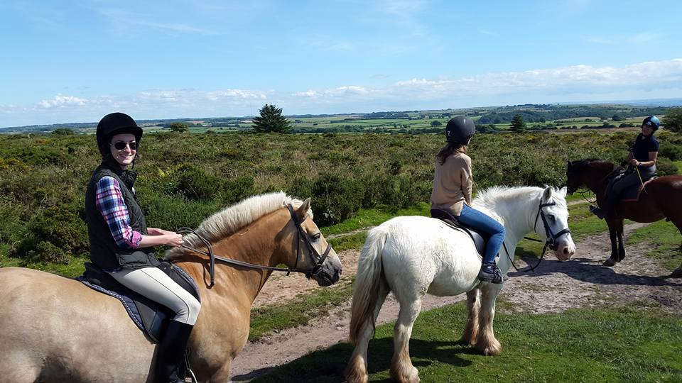 Rachel riding Barney
